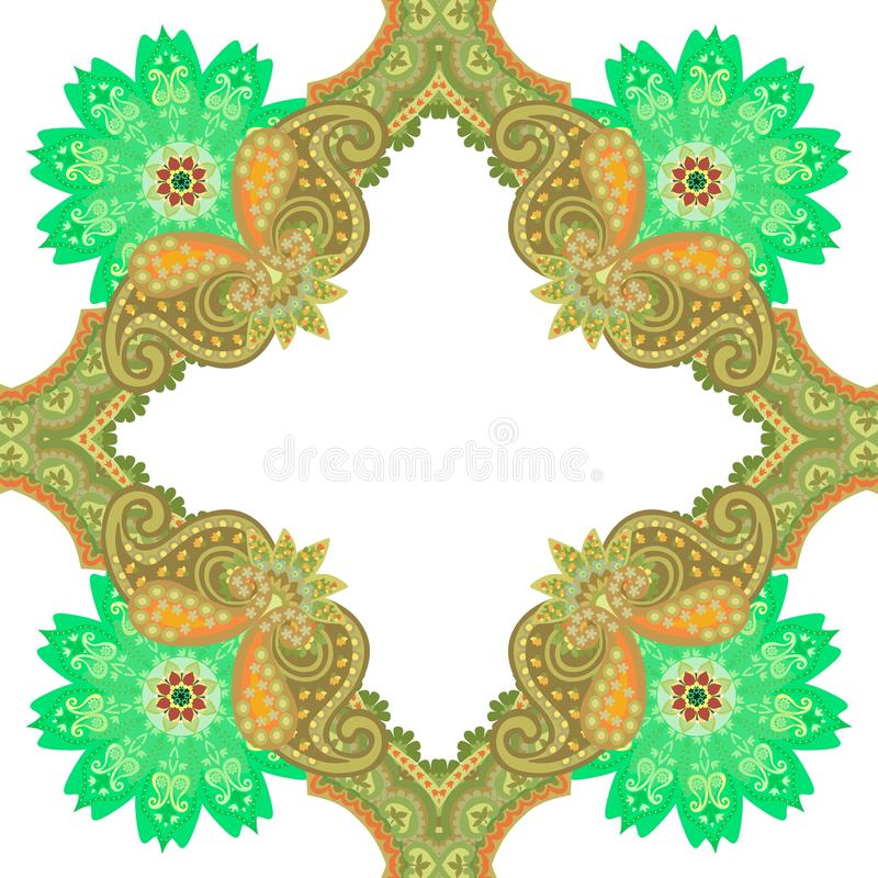 Modello senza cuciture nello stile orientale con l'ornamento di Paisley ed i fiori delle mandale su fondo bianco Piastrella di ce illustrazione vettoriale
