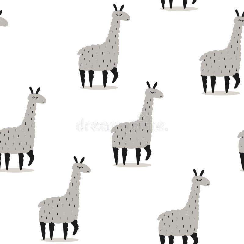 Modello senza cuciture nero, bianco e grigio sveglio dei lama, illustrazione di stock