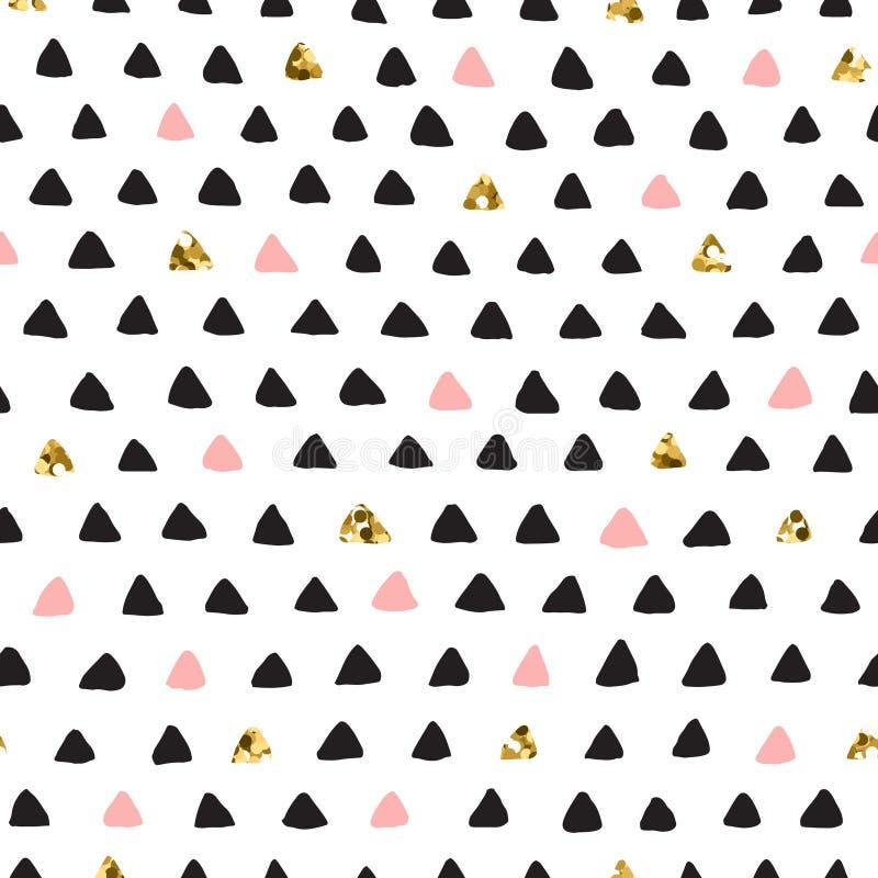 Modello senza cuciture nero dell'inchiostro, di rosa & del triangolo di vettore di scarabocchio dell'oro illustrazione vettoriale