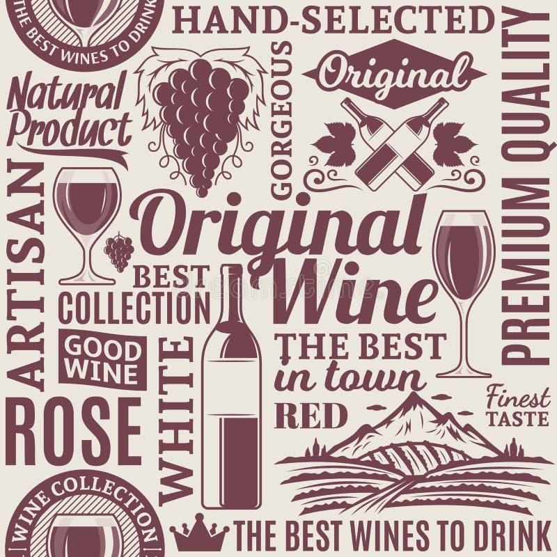Modello senza cuciture o fondo del vino tipografico di vettore illustrazione di stock