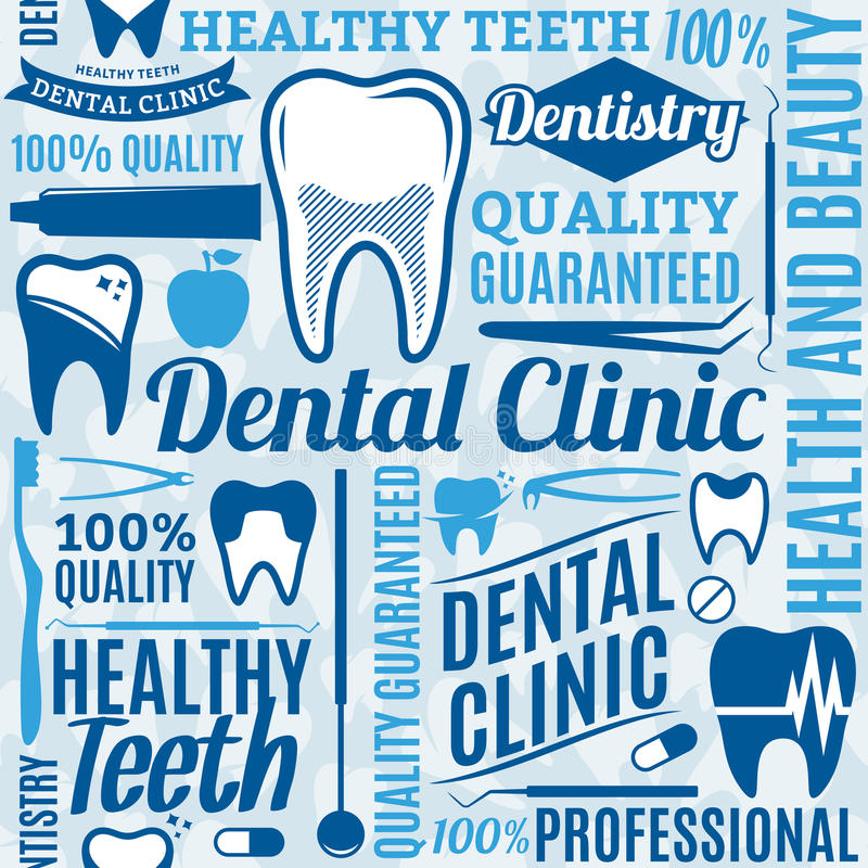 Modello senza cuciture o fondo della clinica dentaria illustrazione vettoriale