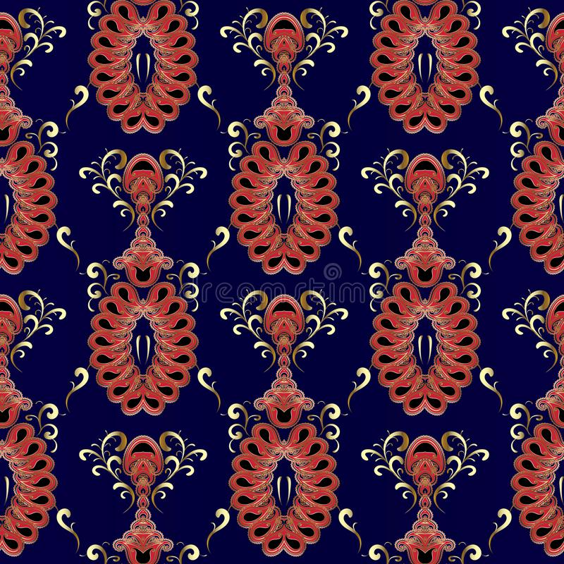 Modello senza cuciture orientale d'annata di Paisley Vettore Flor blu scuro illustrazione vettoriale