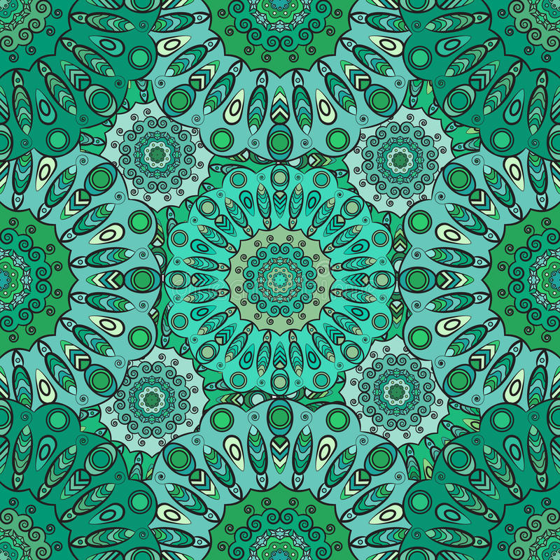 Modello senza cuciture orientale d'annata nei colori verdi Indiano, arabo, ottomano, turco, giapponesi, motivo floreale cinese pe illustrazione vettoriale
