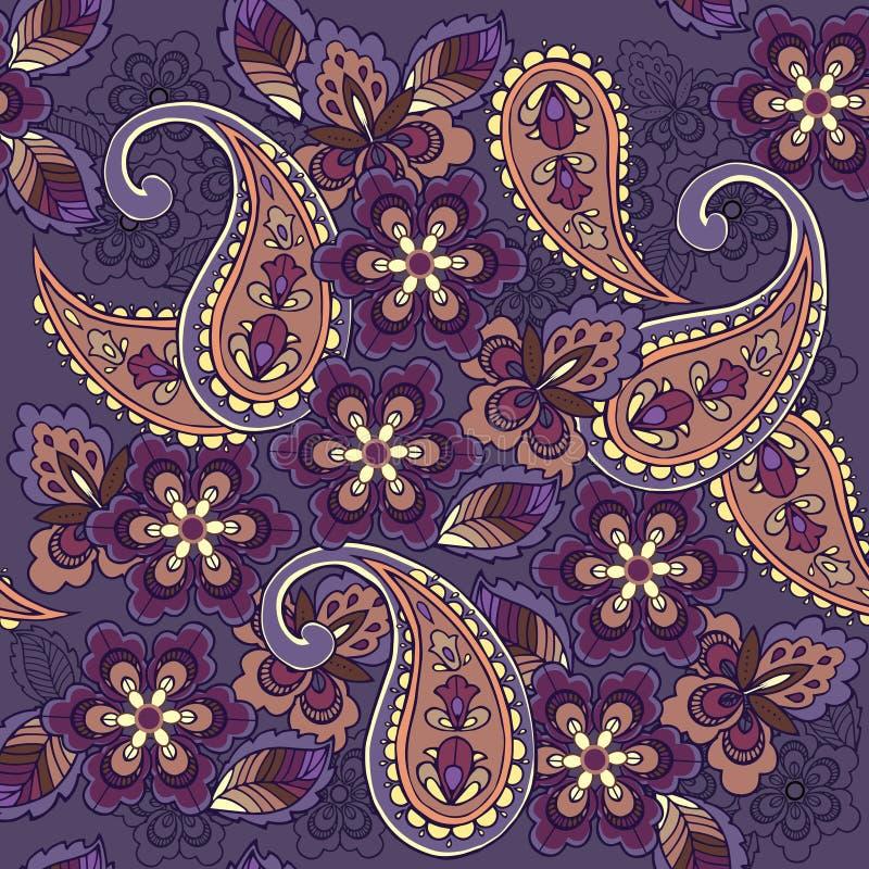 Modello senza cuciture orientale di Paisley su un fondo blu Contesto decorativo dell'ornamento per tessuto, tessuto, carta da imb illustrazione vettoriale