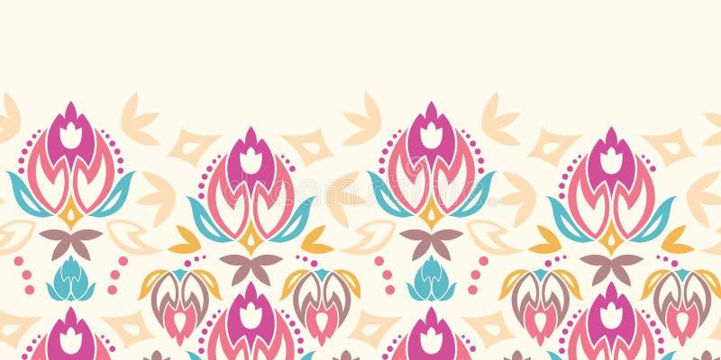 Modello senza cuciture orizzontale dei tulipani astratti del damasco illustrazione vettoriale