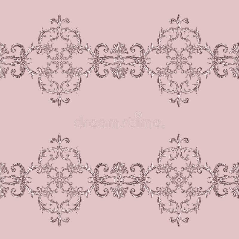 Modello senza cuciture ornamentale degli elementi d'argento barrocco Struttura disegnata a mano dell'elemento dell'oro dell'acque royalty illustrazione gratis