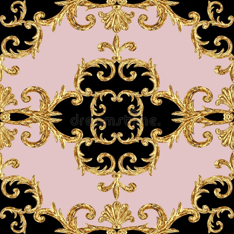 Modello senza cuciture ornamentale degli elementi dorati barrocco Struttura disegnata a mano dell'elemento dell'oro dell'acquerel illustrazione di stock