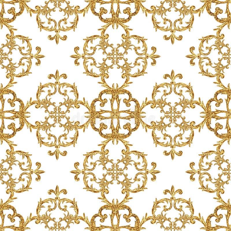 Modello senza cuciture ornamentale degli elementi dorati barrocco Struttura disegnata a mano dell'elemento dell'oro dell'acquerel royalty illustrazione gratis
