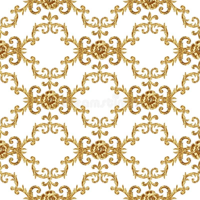 Modello senza cuciture ornamentale degli elementi dorati barrocco Struttura disegnata a mano dell'elemento dell'oro dell'acquerel illustrazione vettoriale