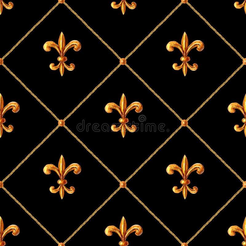 Modello senza cuciture ornamentale degli elementi dorati barrocco Struttura disegnata a mano dell'elemento dell'oro dell'acquerel fotografie stock