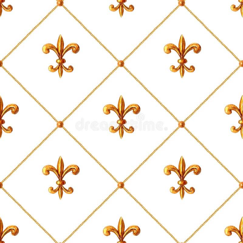 Modello senza cuciture ornamentale degli elementi dorati barrocco Struttura disegnata a mano dell'elemento dell'oro dell'acquerel fotografia stock