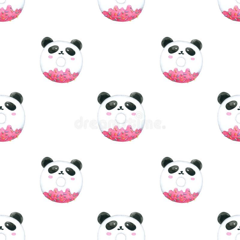 Modello senza cuciture Panda Donuts sveglio per l'imballaggio, tessuto della stampa L'immagine disegnata a mano dell'acquerello p royalty illustrazione gratis