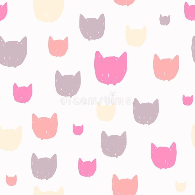 Modello senza cuciture pastello disegnato a mano per progettazione dei bambini I gatti dirigono il fondo del fumetto royalty illustrazione gratis