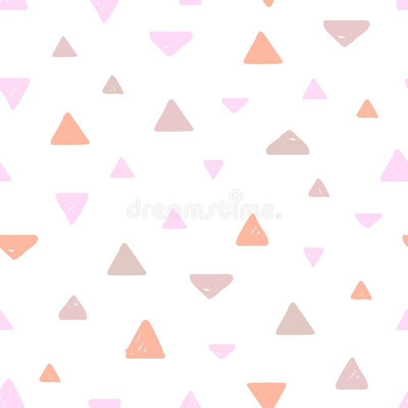 Modello senza cuciture pastello disegnato a mano per progettazione dei bambini Triangoli dentellare royalty illustrazione gratis