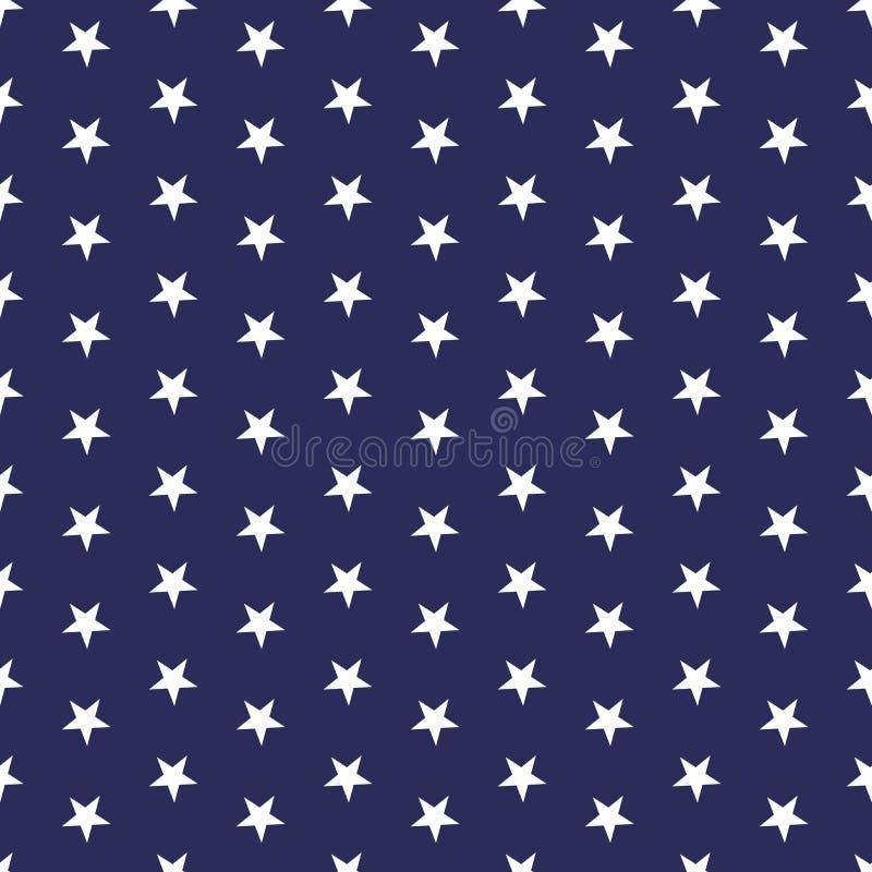 Modello senza cuciture patriottico americano con le stelle bianche su un fondo blu royalty illustrazione gratis