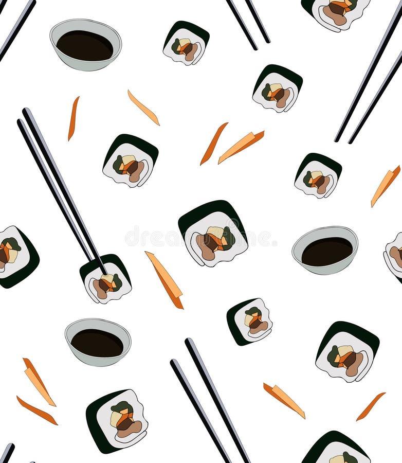 Modello senza cuciture per il caffè asiatico Gimbap tradizionale coreano del piatto in bastoni di taglio con la salsa di soia Sus royalty illustrazione gratis
