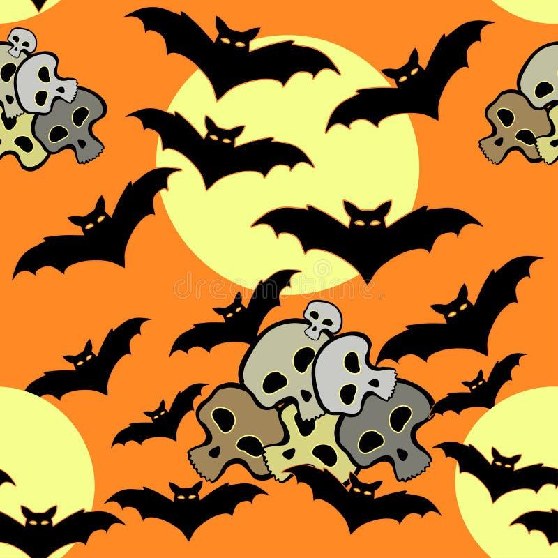 Modello senza cuciture per il pipistrello di Halloween, cranio, luna su un BAC arancio royalty illustrazione gratis