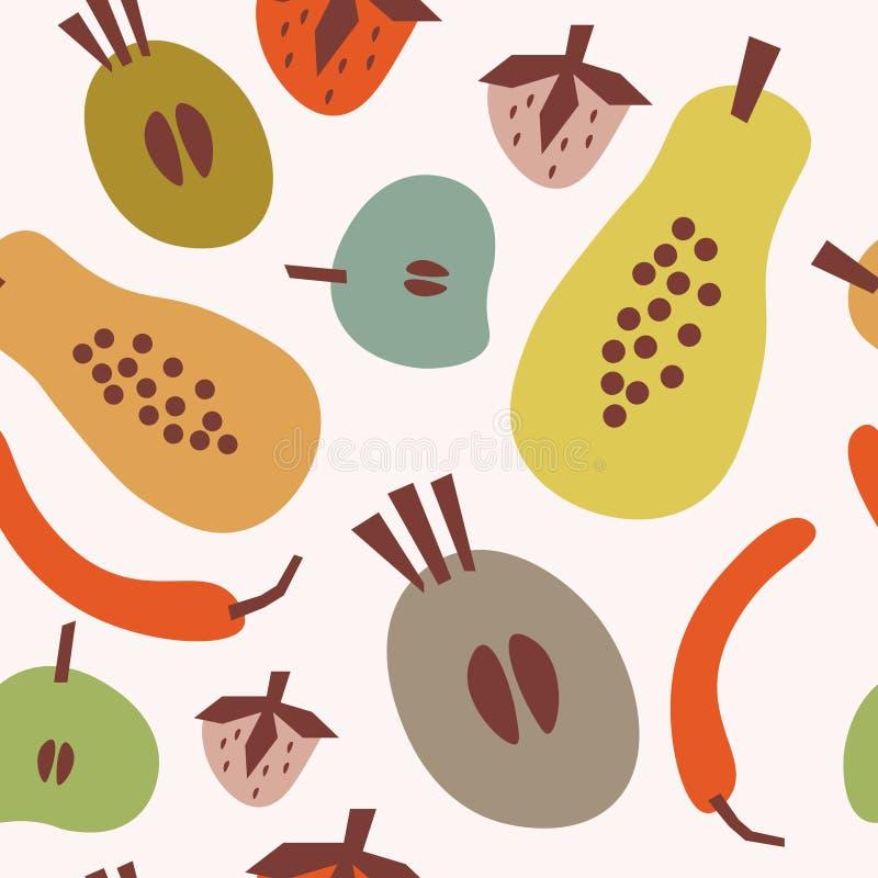 Modello senza cuciture piano con la papaia, il peperone, altri frutti e la spezia Fondo tropicale dell'alimento di estate Immagin royalty illustrazione gratis