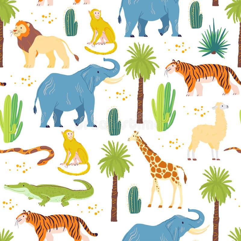 Modello senza cuciture piano di vettore con gli animali disegnati a mano del deserto, rettili, palme, cactus isolato su fondo bia royalty illustrazione gratis