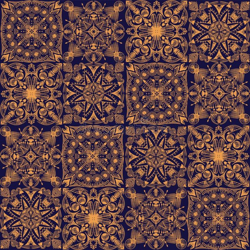 Modello senza cuciture piastrellato simmetrico tribale dorato di vettore su fondo scuro illustrazione vettoriale
