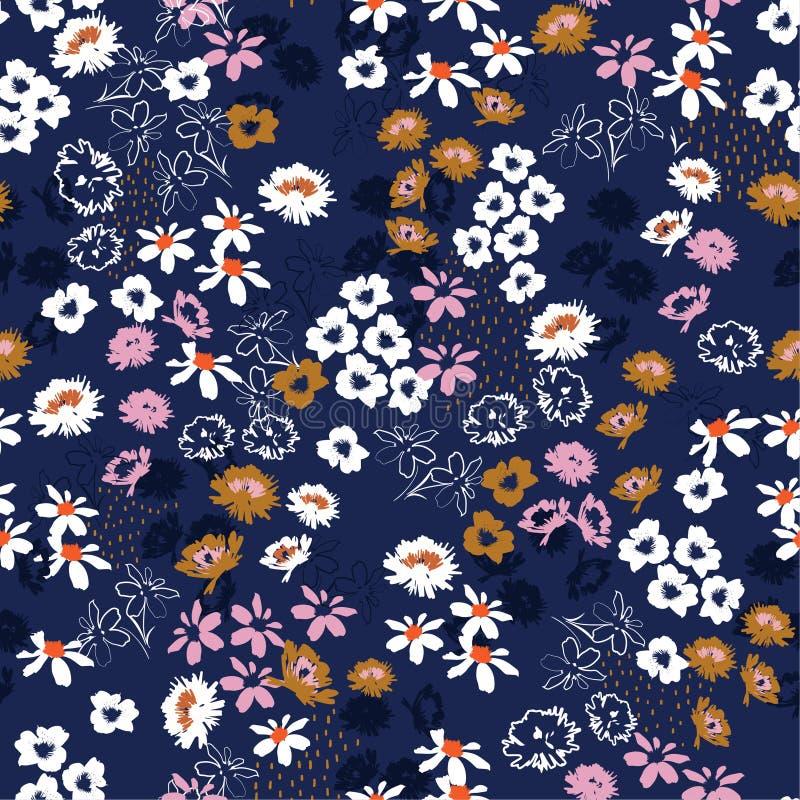 Modello senza cuciture in piccoli fiori graziosi variopinti Progettazione floreale di fioritura del prato di stile di libertà per illustrazione vettoriale
