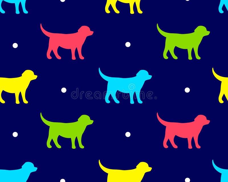 Modello senza cuciture in pois con i cani di colore su fondo scuro Vettore royalty illustrazione gratis
