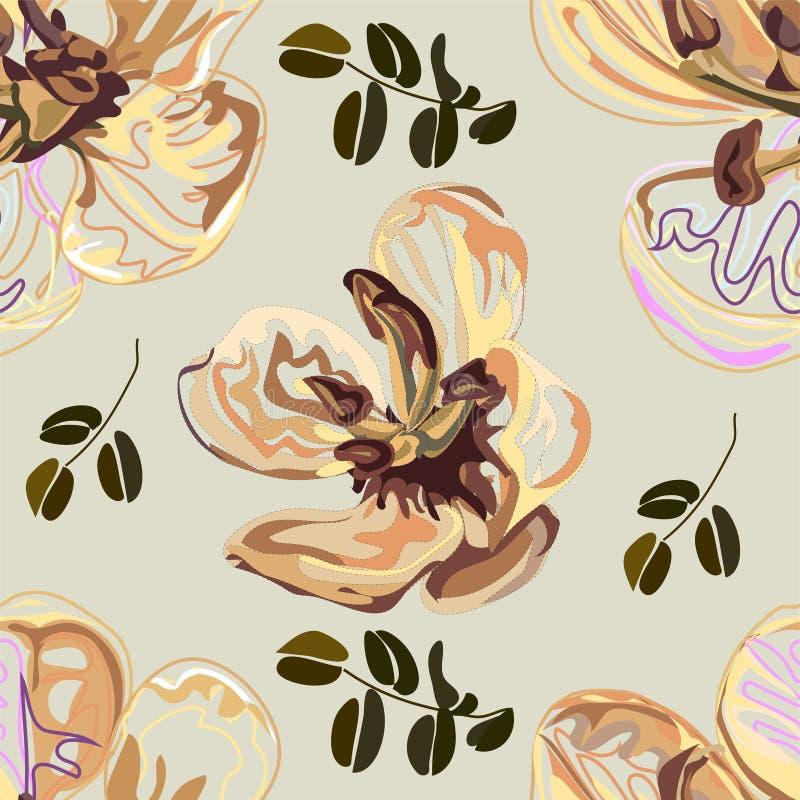 Modello senza cuciture, progettazione grafica, fiore della cassia nello stile astratto su fondo nero illustrazione vettoriale