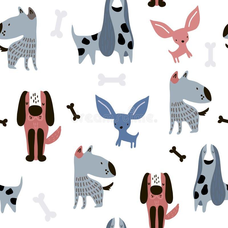 Modello senza cuciture puerile con i cani creativi divertenti Fondo scandinavo d'avanguardia di vettore Perfezioni per l'abito de illustrazione di stock