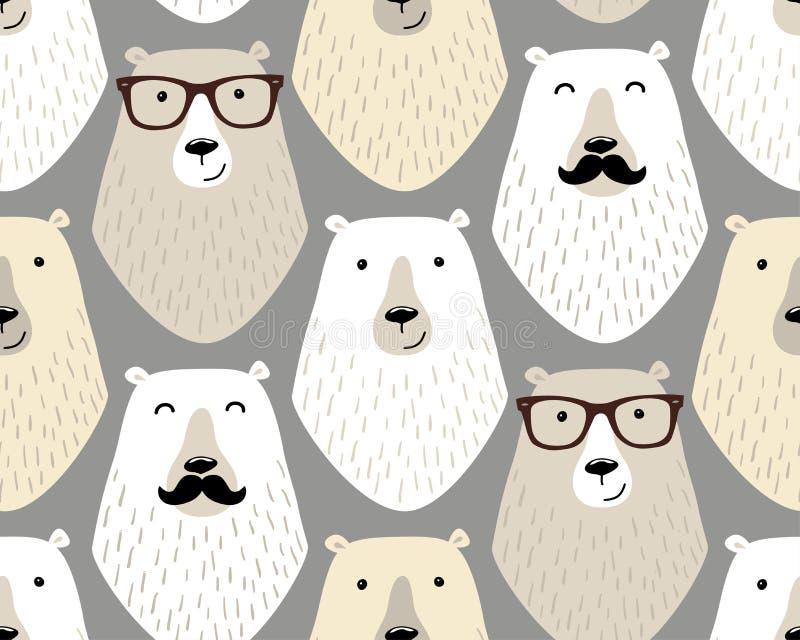 Modello senza cuciture puerile sveglio con i personaggi dei cartoni animati degli orsi differenti dei pantaloni a vita bassa con  illustrazione vettoriale