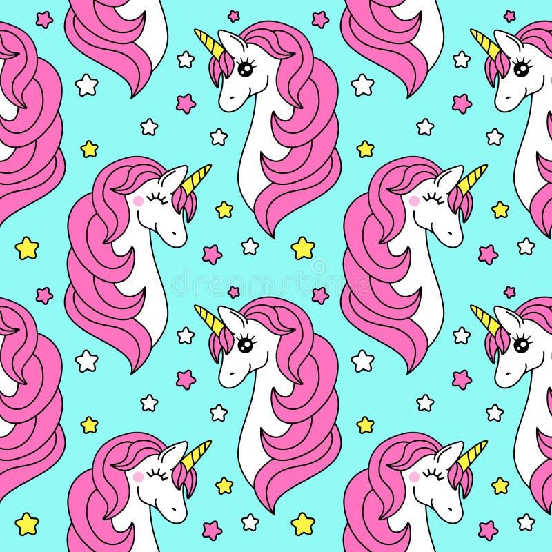 Modello senza cuciture puerile sveglio con personaggio dei cartoni animati dell'unicorno magico illustrazione vettoriale