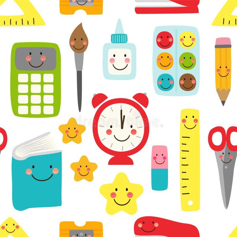 Modello senza cuciture puerile sveglio di nuovo ai rifornimenti di scuola come personaggi dei cartoni animati sorridenti royalty illustrazione gratis