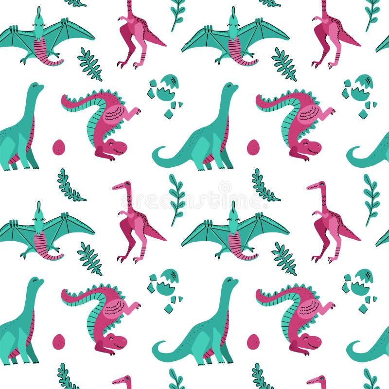 Modello senza cuciture puerile sveglio di vettore con i dinosauri con le uova, piante Dinos divertenti del fumetto su fondo bianc illustrazione di stock