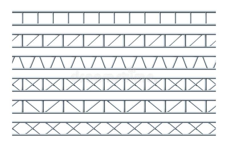 Modello senza cuciture realistico della trave d'acciaio della capriata per la progettazione della pubblicità e dei segnali strada illustrazione di stock