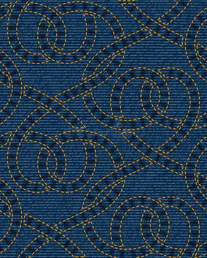 Modello senza cuciture ricamato sul fondo blu di struttura del denim illustrazione di stock
