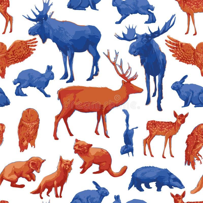 Modello senza cuciture ripetuto degli animali differenti della foresta illustrazione di stock