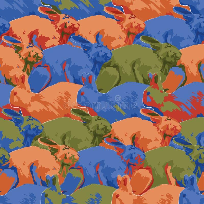 Modello senza cuciture ripetuto dei conigli svegli nella vista laterale royalty illustrazione gratis