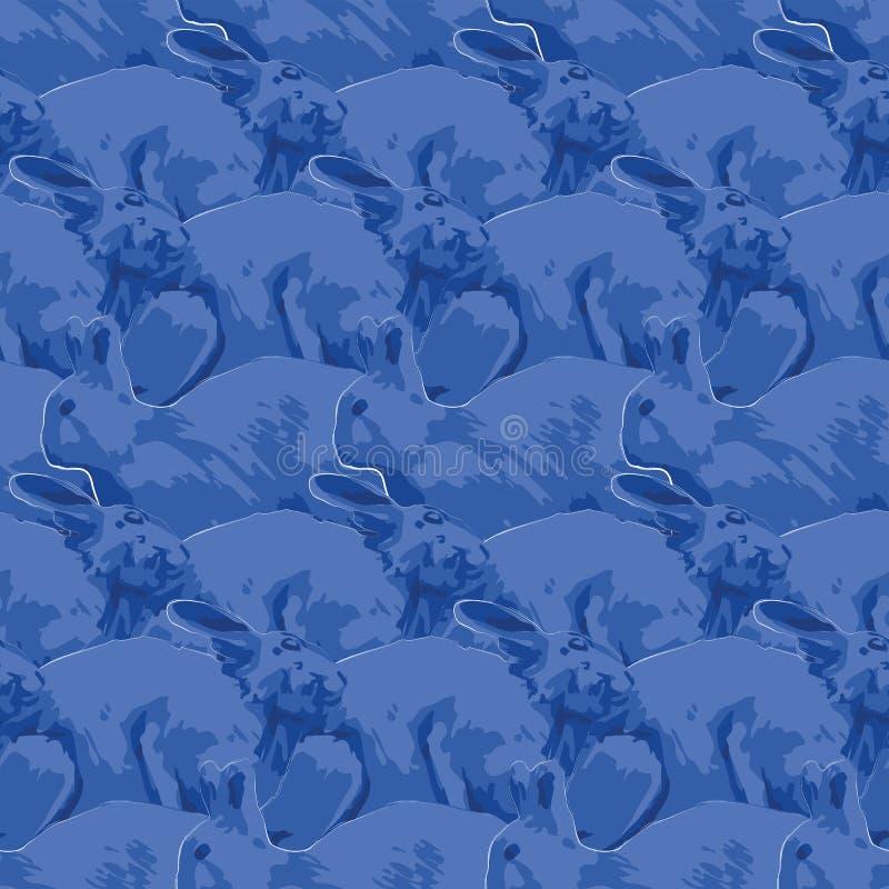 Modello senza cuciture ripetuto dei conigli svegli nella vista laterale illustrazione di stock