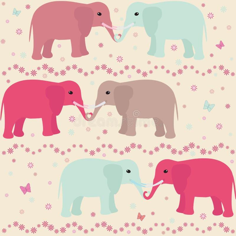 Modello senza cuciture romantico con gli elefanti illustrazione vettoriale