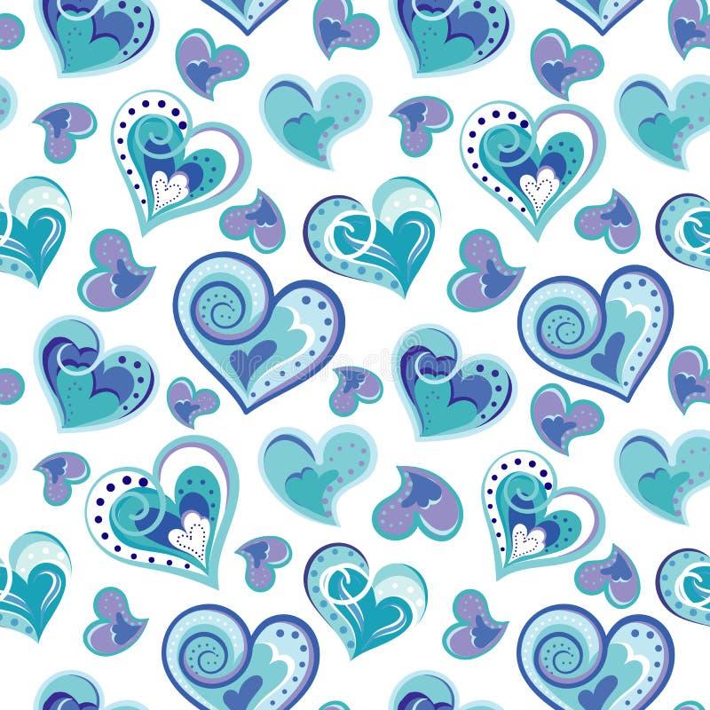 Modello senza cuciture romantico con i cuori variopinti di tiraggio della mano Cuori blu su fondo bianco Illustrazione di vettore illustrazione vettoriale