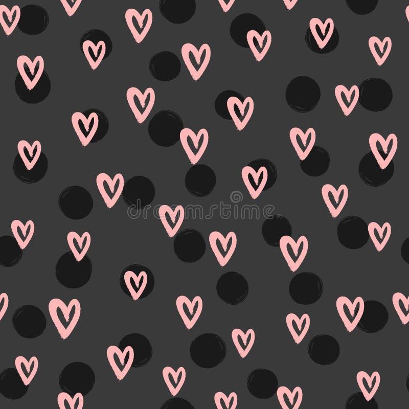 Modello senza cuciture romantico con i punti rotondi ed i cuori disegnati a mano con la spazzola ruvida Schizzo, acquerello, pitt illustrazione di stock