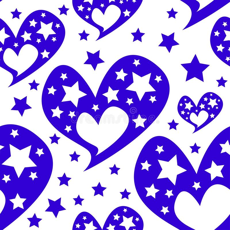 Modello senza cuciture romantico delle stelle dei cuori royalty illustrazione gratis