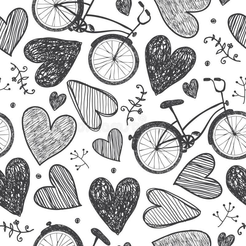 Modello senza cuciture romantico disegnato a mano di vettore Le biciclette, cuori scarabocchiano lo stile, fondo d'annata in bian illustrazione vettoriale