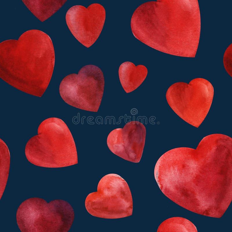 Modello senza cuciture romanzesco del cuore dell'acquerello di nozze rosse del fondo royalty illustrazione gratis