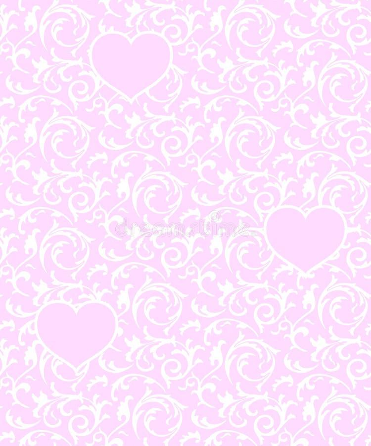 Modello senza cuciture rosa con i cuori e l'elemento floreale bianco Fondo barrocco di vettore di amore di giorno di biglietti di royalty illustrazione gratis