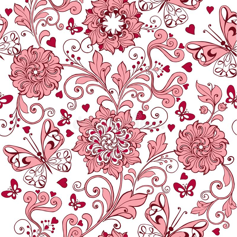 Modello senza cuciture rosa d'annata con i cuori e le farfalle Contesto elegante per tessuto, tessuto, carta da imballaggio, cart illustrazione di stock