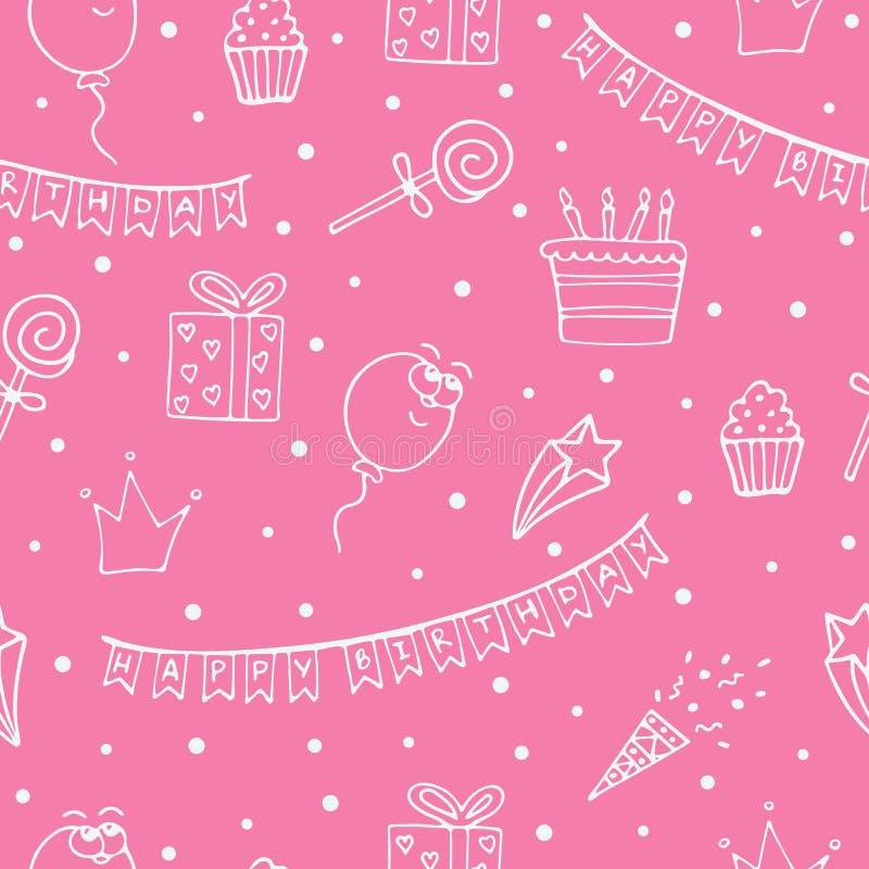 Modello senza cuciture rosa per un compleanno con i disegni bianchi illustrazione di stock