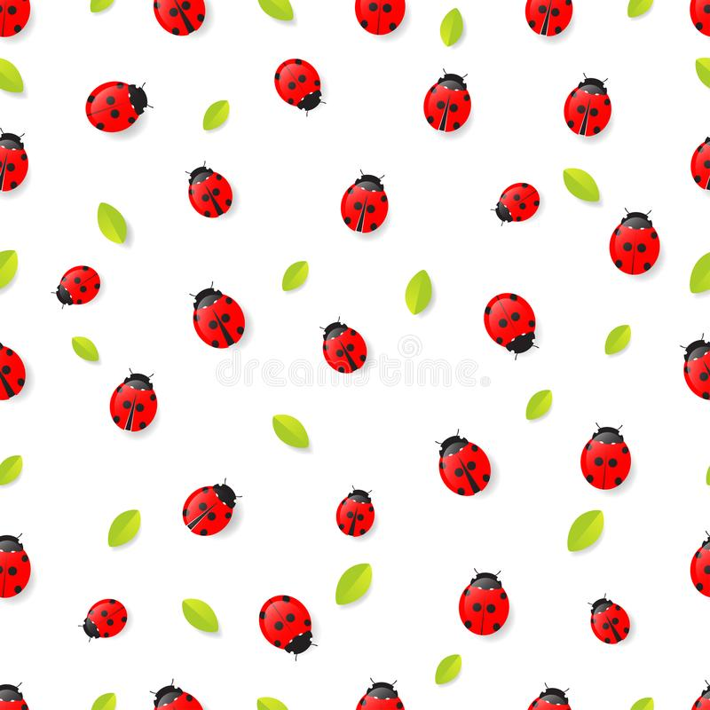Modello senza cuciture rosso delle foglie e delle coccinelle isolato su backg bianco illustrazione vettoriale