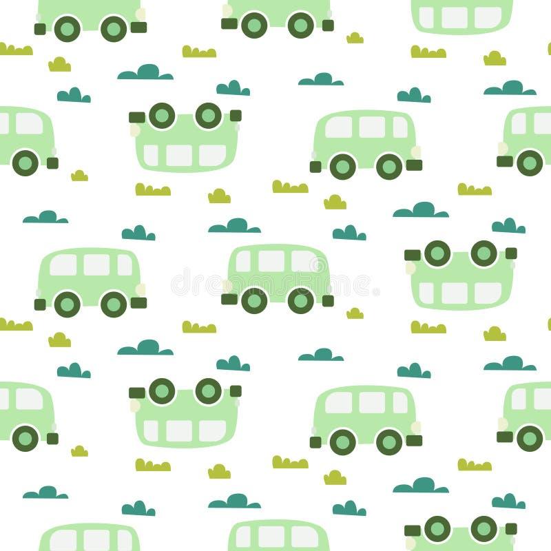 Modello senza cuciture scandinavo del bambino dell'automobile di verde sveglio di vettore royalty illustrazione gratis