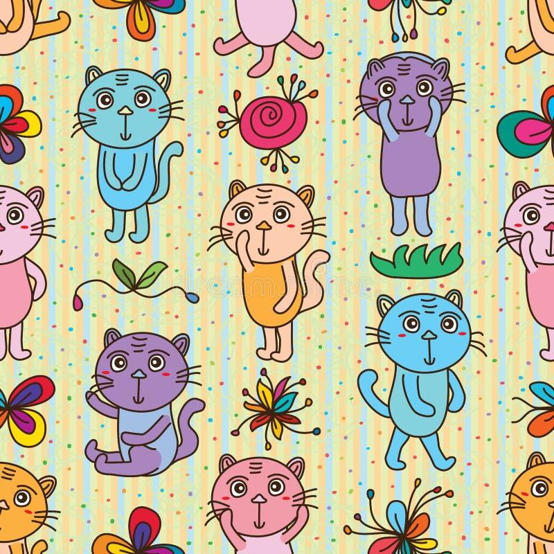 Modello senza cuciture sconosciuto infelice del gatto illustrazione di stock