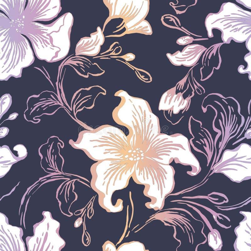 Modello senza cuciture seFloral floreale Struttura d'annata dei fiori decorati astratti Tessuto ornamentale decorativo, carta da  illustrazione vettoriale